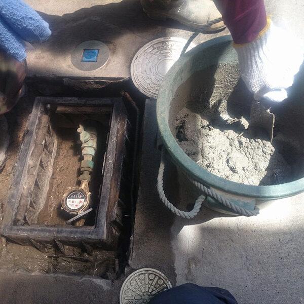 1 水道メーターボックス再設置 ボックス廻りコンクリート埋め